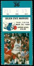 Ticket Basketball Charlotte Hornets 1988 - 1989 3.3 Golden State Warriors