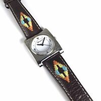 Brighton Watch Traverse Silver Plate Brown Leather Band Southwestern Style