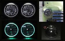 "H6014 H6024 H6012 H6015 H4 7"" Green Halo Black Chrome Diamond Headlights"