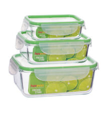Food Storage Containers 3pcs Glass w/Green Top Lids Microwave/Oven Freezer Safe