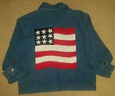 Don't Mess With Texas American Flag and Stars Patriotic Jean Jacket Womens XL