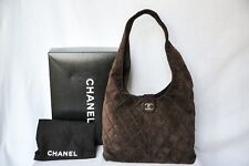 CHANEL Dark Brown Suede Leather Quilted Bag Hobo Messenger Handbag Purse LOGO