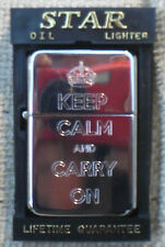 KEEP CALM AND CARRY ON CHROME PETROL CIGARETTE LIGHTERS *BACK ENGRAVED FREE*