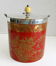 Blue Willow Red Biscuit Barrel