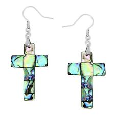 Cross Fashionable Earrings - Fish Hook - Abalone Paua Shell