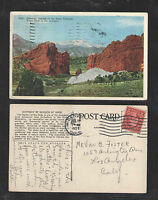 1927 GATEWAY GARDEN OF THE GODS COLORADO PIKES PEAK IN DISTANCE POSTCARD