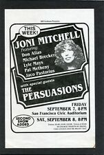 1979 Joni Mitchell concert handbill flyer San Francisco Jaco Pastorius Metheny