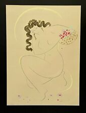 MURAMASA KUDO Rare Nude Woman Flowers Signed LE Serigraph Drawing Japanese Art