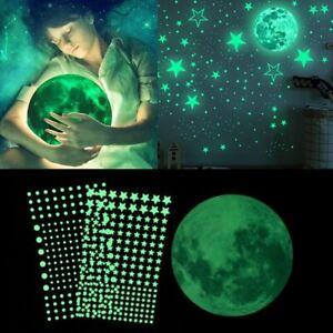 3D Luminous Moon Stars Wall Sticker Glow In The Dark Bubble Dot Home Fluorescent