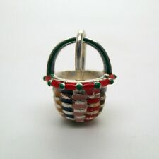 Sterling Silver MOTHER'S BASKET Charm for Bracelet PENDANT Hand-enameled CUTE!