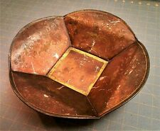 Antique Tole Ware Folk Art Tin Ware Serving Dish Bowl Hand Stenciled Basket