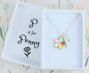 Rainbow Flower Necklace, Girls Jewellery Personalised With Name and Initial