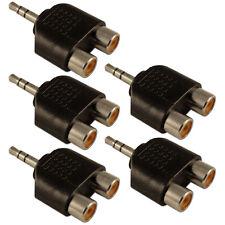 Conector estéreo mini Jack 3.5mm a RCA Fono Doble 2 x Adaptador Convertidor zócalos X 5