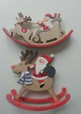 JOBLOT of 10 x ROCKING SANTA & 10 x SANTA'S SLEIGH wooden Christmas Decorations