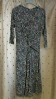 White Stuff ~ Bird / Floral Print Stretch Viscose Twist Front Dress ~ Size 10