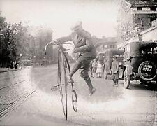 "Bicycle photograph, 1920, antique bike, penny-farthing, cycle-  20""x16"""