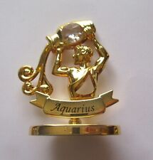 Figurine AQUARIUS - lady water -on stand-24k gold plated- Austrian crystals