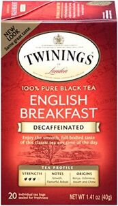 NEW Twinings of London Decaffeinated English Breakfast Tea 20 Count Pack of 6