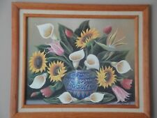 """Framed Picture Print Of Flowers Bouquet in Talavera Vase 20 x 24"""" by Manolo'99"""
