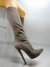 MORI ITALY EXTREME HEEL KNEE HIGH BOOTS BOOTS BOOTS LEATHER GREY GREY 39