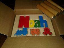 Nib baby name stool Noah train theme wooden stool blocks nursery furniture