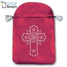 ROSICRUCIAN SATIN BAG PINK EMBROIDERED CARDS LO SCARABEO 160x225 MM NEW