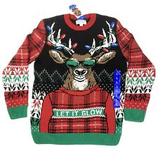 Ugly Holiday Sweater Mens Size L - Ugly Christmas Sweater - Let It Glow Reindeer