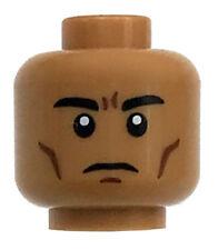 LEGO NEW MEDIUM DARK FLESH MINIFIGURE HEAD STERN FACE CHEEK LINES FROWN LOOK