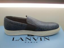 $595 NEW Lanvin Men's Black/Blue Leather Slip-On Sneakers Size 9 UK 10 US
