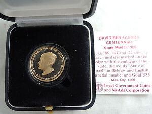 Israel 1986 David Ben-Gurion Centennial Of Birth State Medal 7G Gold 14K