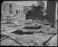 Glass Magic Lantern Slide ANCIENT WINE PRESS C1900 PHOTO MIDDLE EAST SYRIA ?