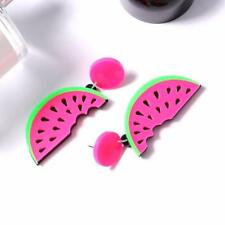 Lovely Watermelon Earrings Statement Big Stud Earrings Handmade Acrylic Funny DA