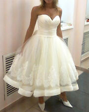 Vintage Tea Length Lace Satin Wedding Dresses Sweetheart Short Bridal Ball Gowns