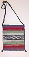 Mexican Crossbody Bag Purse Black Aztec Line White Green and Rust sz Medium