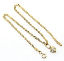 Mujer 9Ct 9carat Oro Amarillo 24.1cm Singapore Eslabón Anklet.uk Vendedor