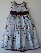 Bonnie Jean Sheer Embroidered Floral Dress Blue Brown sz 5 wedding spring summer