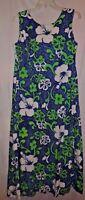 Vintage 60's Hawaiian dress LARGE BARKCLOTH Blue Green Maxi PRISTINE Muumuu