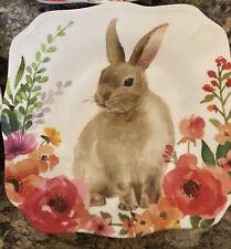 Pottery Barn Set of 4 Easter Rabbit Bunny Plates Salad Appetizer