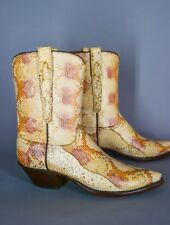 FULL Natural Snake Skin LUCCHESE Boots Size 7.5 B Women Cowboy Western Exotic