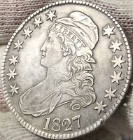 1827 CAPPED BUST HALF DOLLAR - SQUARE BASE 2 - VF+ (UNCERTIFIED)