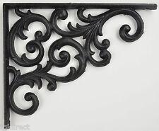 "Wall Shelf Bracket Brace Ornate Black Cast Iron 9.375"" Deep Crafting Supplies"