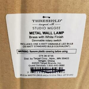 """-= Threshold Studio McGee Metal Wall Lamp Brass w/ White Finish Dimmable 11"""" H"""