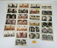 Lot of 25 Antique 3-D Photo View StereoView Cards B&W Color Some Damaged 25 J