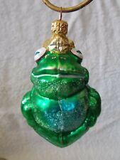 King Prince Green Frog Glass Christmas Ornament