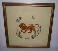 Vintage Leo The Lion Framed Needlepoint Wall Hanging Art