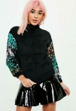MISSGUIDED SEQUIN SLEEVE BLACK FLUFFY JUMPER UK ONE SIZE BNWT