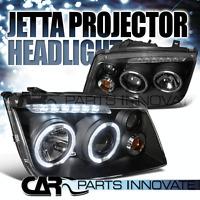 Fit 99-05 Jetta Bora Mk4 LED Halo Projector Headlights Lamps Black w/ Fog DRL
