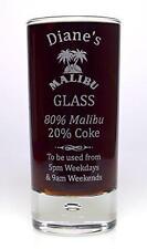 Engraved MALIBU % Highball Glass Gift 18th/21st/30th/40th/Birthday/Girls/Her/Mum