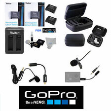 Accessories For Gopro Hero4 Microphone 2 Batteries Hard Case Fast Dual Charger