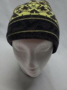 Spyder Courmayeur Knit Fleece Lined Tassel Beanie Hat Brown Lime NEW